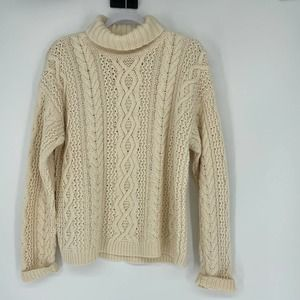Vintage Yorkshire Knitting Large Cream Turtleneck